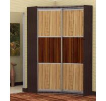 """Прадо"" (двери макассар) асимметричный радиусный шкаф купе"