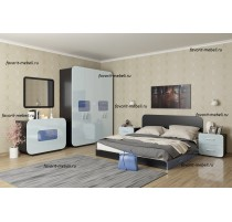 """""""Модерн Люкс-3"""" спальный гарнитур с глянцевым, закруглённым фасадом."""